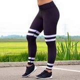 High Waist White Striped Leggings