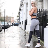 Gray And Black Color Block Leggings