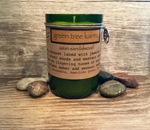 Asian Sandalwood Soy Upcycled Wine Bottle Candle - Green Tree Karma
