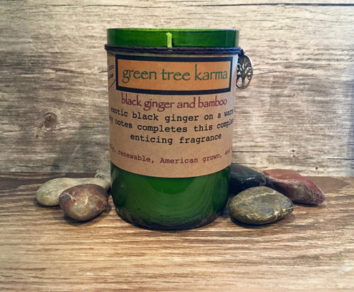 Black Ginger and Bamboo Soy Upcycled Wine Bottle Candle - Green Tree Karma