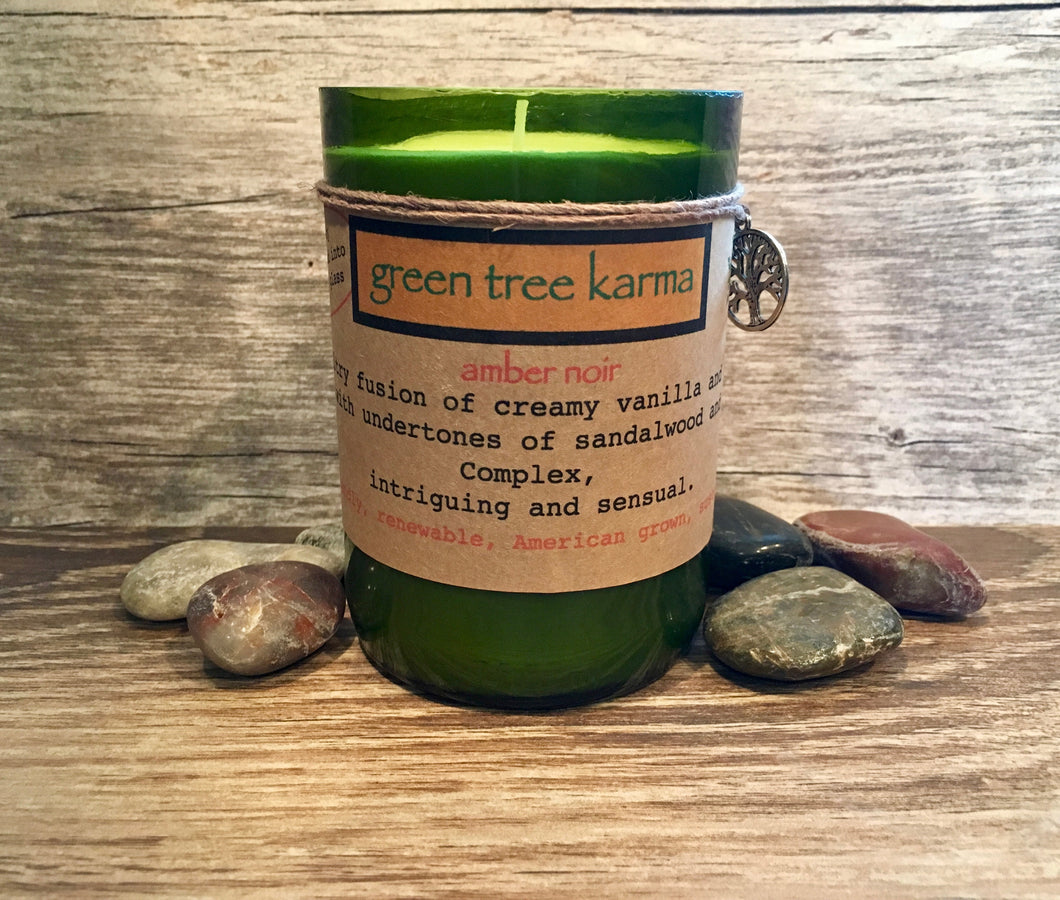 Amber Noir Soy Upcycled Wine Bottle Candle - Green Tree Karma