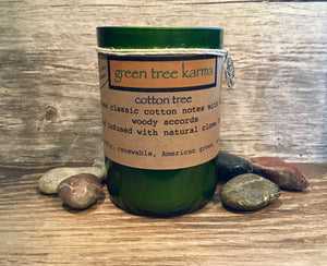 Cotton Tree Soy Upcycled Wine Bottle Candle - Green Tree Karma
