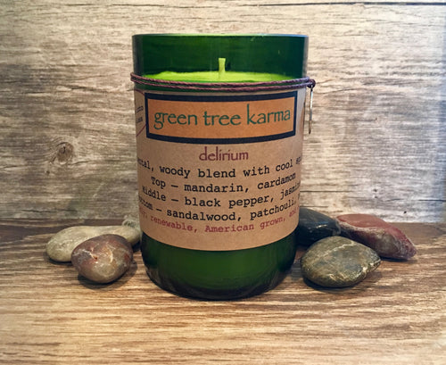 Delirium Soy Upcycled Wine Bottle Candle - Green Tree Karma