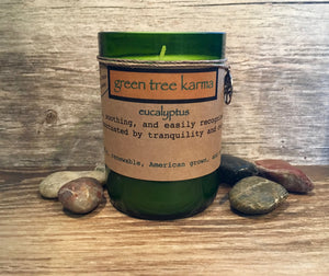 Eucalyptus Soy Upcycled Wine Bottle Candle - Green Tree Karma
