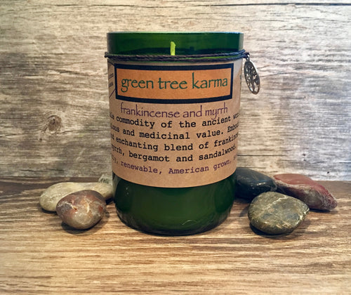 Frankincense and Myrrh Soy Upcycled Wine Bottle Candle - Green Tree Karma