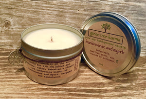 Frankincense and Myrrh 8oz Reusable Tin - Green Tree Karma