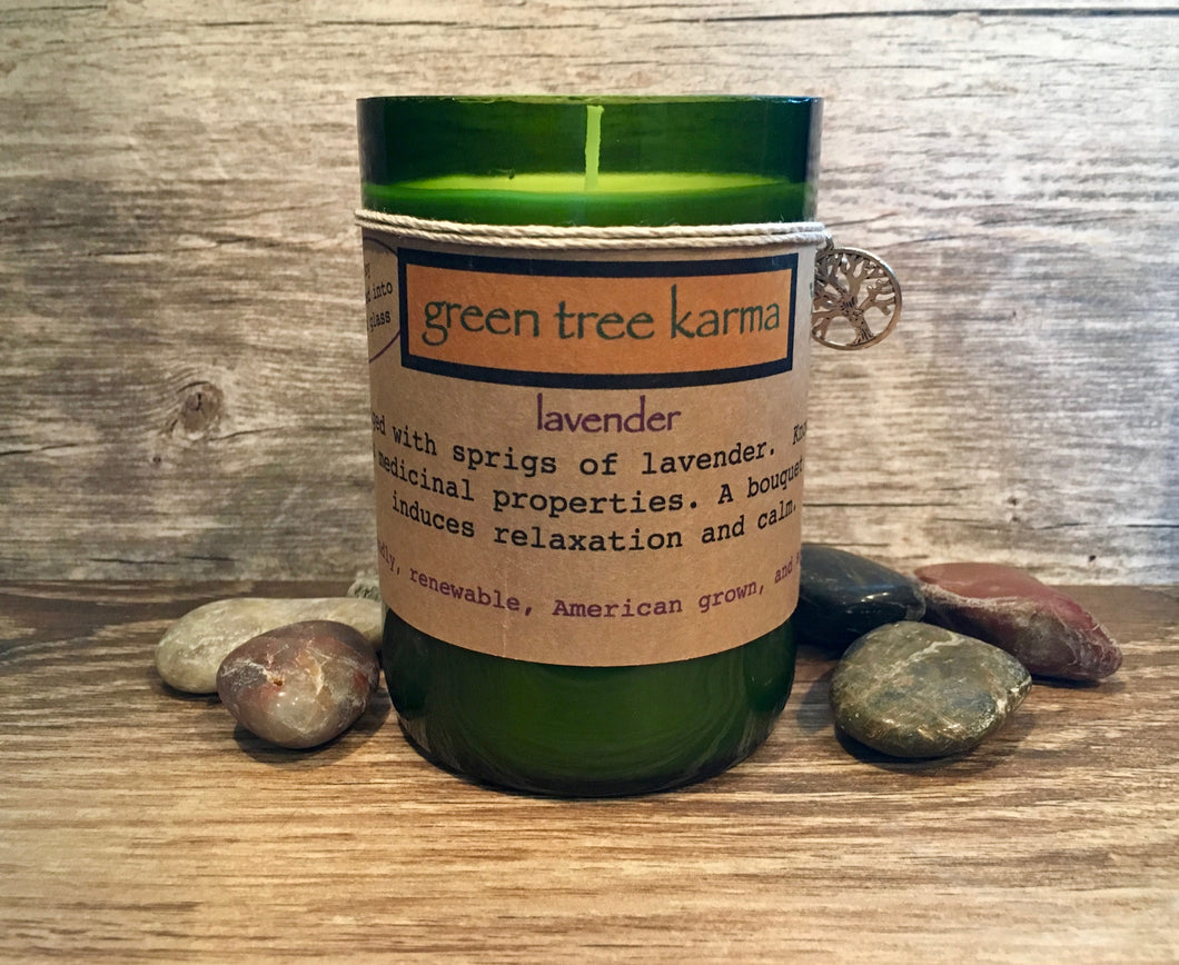 Lavender Soy Upcycled Wine Bottle Candle - Green Tree Karma