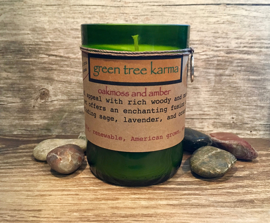 Oakmoss and Amber Soy Upcycled Wine Bottle Candle - Green Tree Karma