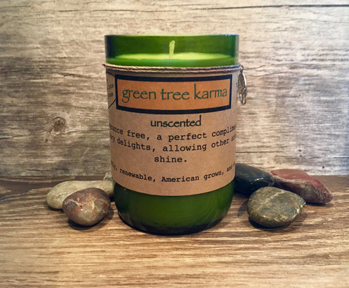Unscented Soy Upcycled Wine Bottle Candle - Green Tree Karma