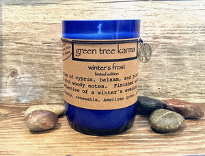 Winter's Frost Upcycled Wine Bottle Limited Edition - Green Tree Karma