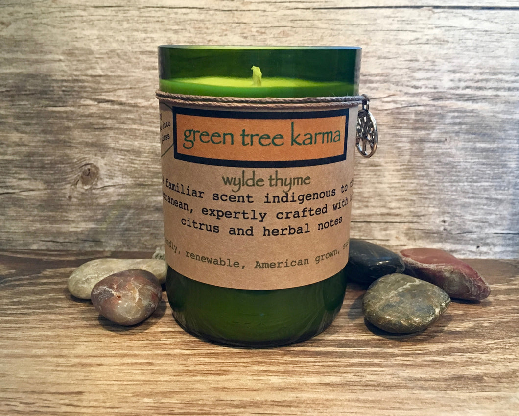 Wylde Thyme Soy Upcycled Wine Bottle Candle - Green Tree Karma