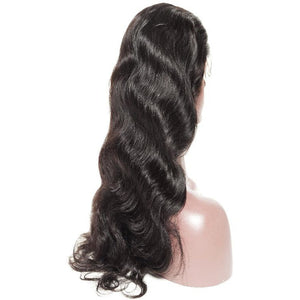 Human Wigs HUMAN HAIR BODY WAVE LACE FRONT WIG BLACK