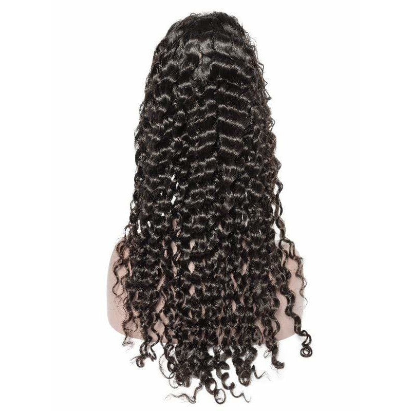 Human Wigs HUMAN HAIR KINKY CURL LACE FRONT WIG BLACK