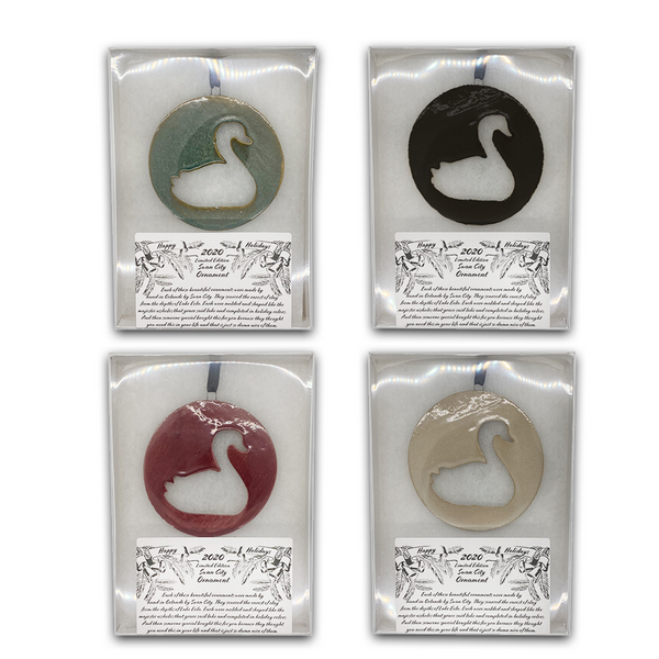Limited Edition 2020 Round Swan Ornament