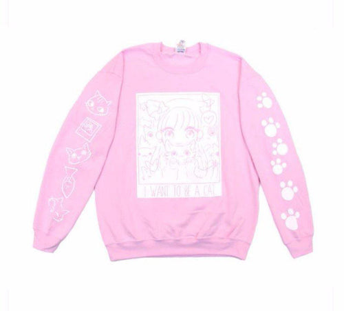 I want to be a cat Pink Sweater