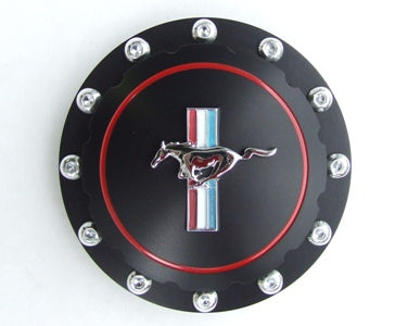 FUEL CAP BILLET BLACK TWIST ON MUSTANG LOGO