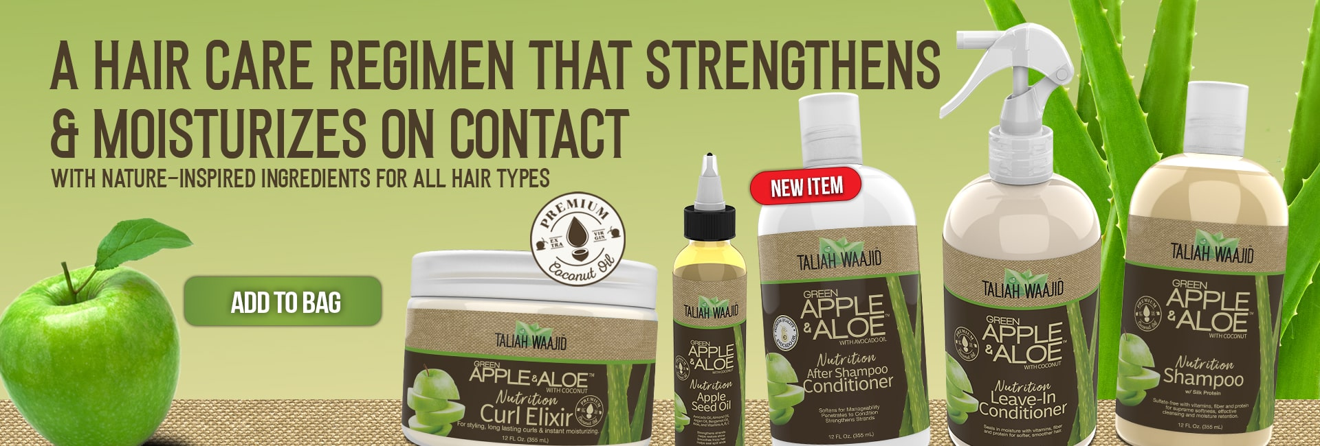 Taliah Waajid Brand Green Apple & Aloe Regimen for Natural Hair Care