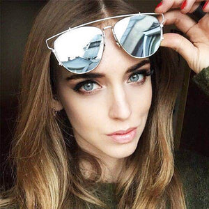 TSHING Fashion Classic Cat Eye Sunglasses Women Luxury Brand Metal Frame Vintage Sun Glasses Female Male Mirror Eyewear