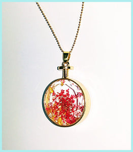 crystal glass Necklace Gold &Silver Plated metal combined  with dried flowers in various colors