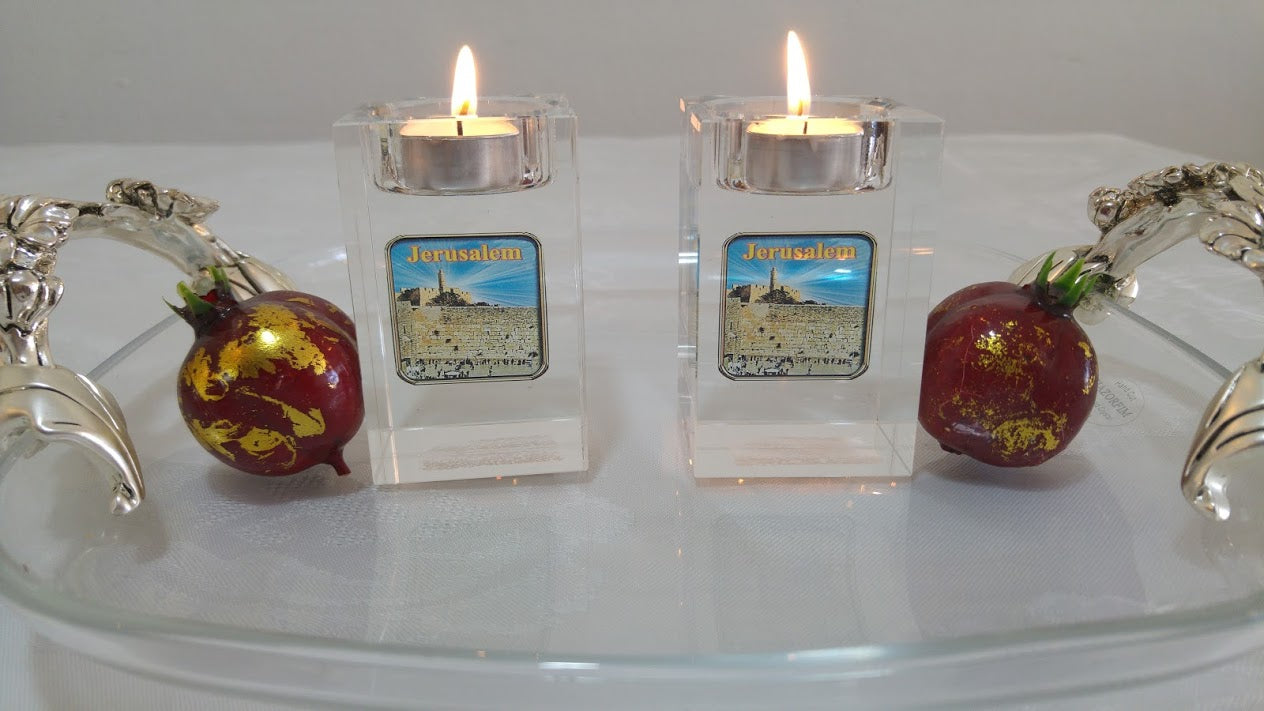 Crystal glass Candlestick transparent embedded inside with Image jerusalem western wall