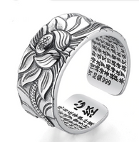Ring men solid 925 silver Lotus Flower Buddhistic MODEL NMR1956