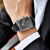 Rectangle men watch top luxury: Classic Quartz fashion casual Wristwatchesle Model Number: BY-5114Mblack