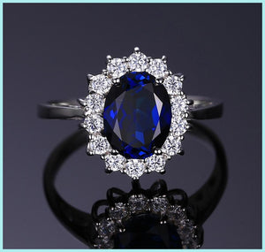 Silver Ring Engagement 925 Sterling Princess Diana oval Blue Sapphire