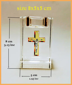 Crystal glass Candlestick transparent embedded inside with Image gold cross and Jesus