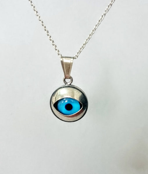 evil-eye necklace Pendant jewlery solid silver 925 Turquoise stone Protect from Evil
