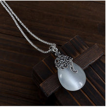 Opal Water Drop Flower Pendants Long Necklaces And Drop Earrings Jewelry Sets Corn Chains 30""