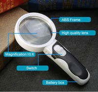 Lupa Magnifying Glass Round 10 Times Loupe With Backlight LED Lights Fresnel  gadgets