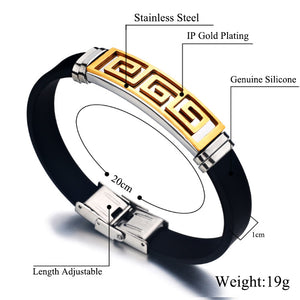 Men Bracelet Stainless Steel gold & silver plated. black Silicone Bangle Great Wall Pattern