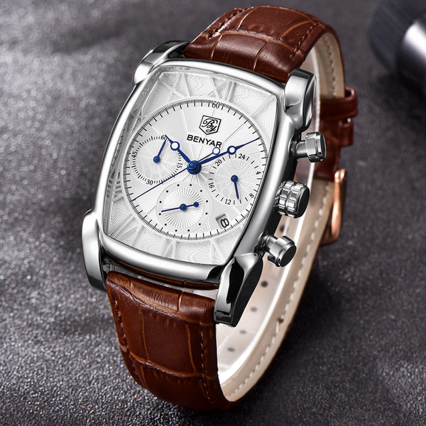 Rectangle Case Chronograph Men Watch Quartz Waterproof 30M Genuine Leather Model Number: BY-5113M