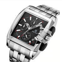 Men Watch Square Stainless steel Quartz Luxury Chronograph Relogios Model Number: MG2018