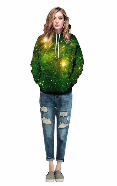 Space Galaxy 3d Sweatshirts Women With Hat Print