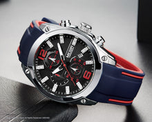 Men Watch Chronograph Analog Quartz, Waterproof Silicone Rubber Model Number: M2063G-2