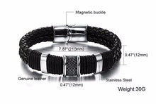 Braided  leather  bracelet. Magnetic buckle. stainless steel. Classic For man model BA101163
