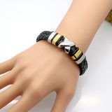 braided leather bracelet, stile vintage punk, combined with X stainless steel Magnet bukle Fashion