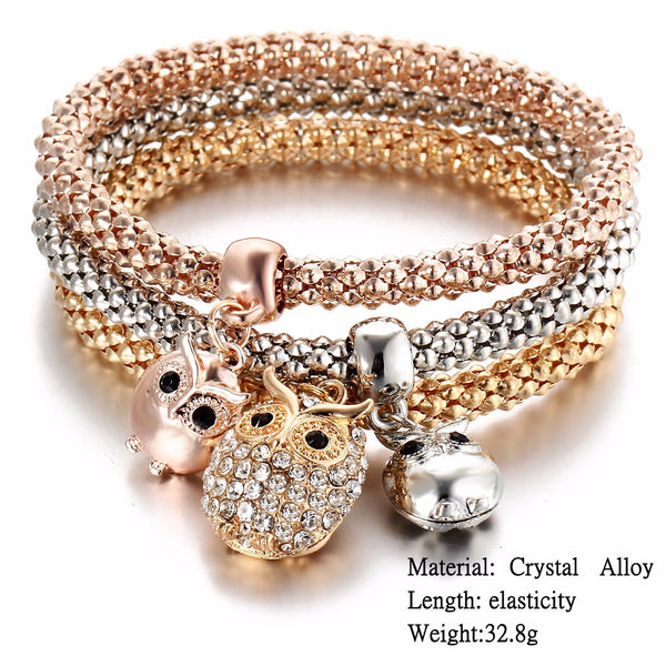 3 Piecs Gold Color Crystal Elephant Owl Charm Anchor Bracelet Multilayer Bangles