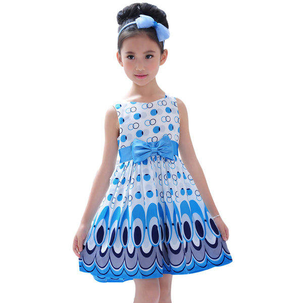 Girl dress, Princess Bow Belt dress Circle Bubble Peacock print babys clothes, girl's Party dresses.  model # TAN1952