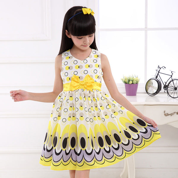 Girl dress, Princess Bow Belt dress Circle Bubble Peacock print  babys kids clothes, girl's Party dresses.  model # TAN1952
