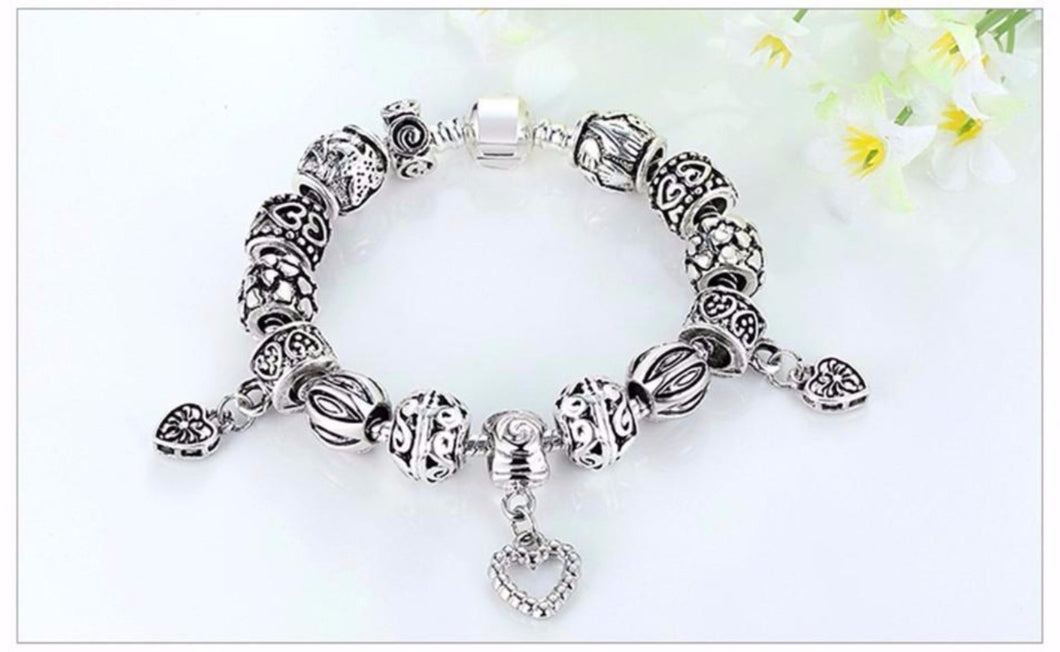Antique Silver Charm Bracelet & Bangle silver plated With Heart Pendant Vintage Jewelry for Women