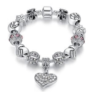 Bangle Bracelets Beads 925 Silver plated Luxury Murano Glass Beads Heart shape. Model- PS3307