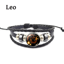 Bracelet Leather Genuine Braidedfor Men & Women Stainless Steel Magnetic Clasp with Glass zodiac