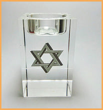 Crystal glass Candlestick transparent embedded inside with Image silver Star of magen-David