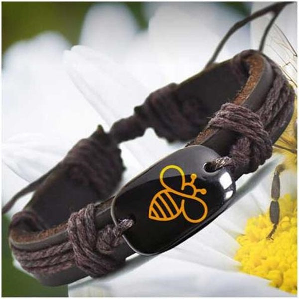Handmade Leather Bracelets for Men& women silver & gold bee color