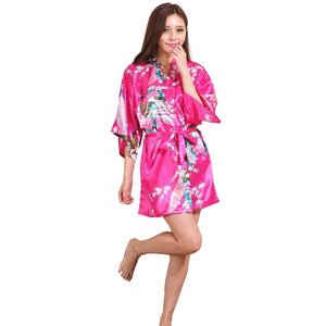 Kimono Silk Satin Floral Bathrobe for Wedding Bride Robe Short Fashion women Lingerie