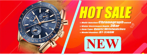 Men Watch Brand Luxury leather band Quartz Chronograph Model Number: BY-5140M