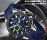 Men Sport Watch Chronograph Silicone Strap Quartz Army Military Model Number: 2053