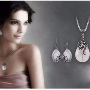 Opal Water Drop Flower Pendants Long Necklace And Drop Earrings Jewelry Sets Corn Chains 30""